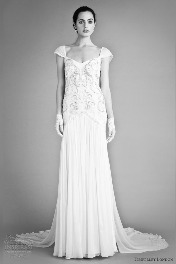 temperley london bridal fall 2012 juniper wedding dress cap sleeves