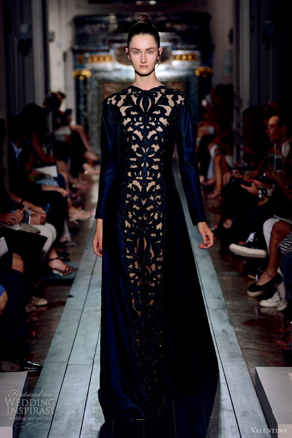 valentino couture fall 2012 long sleeve velvet gown cut out embroidery