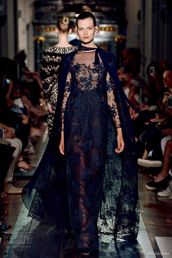 valentino fall 2012 couture blue lace gown cape