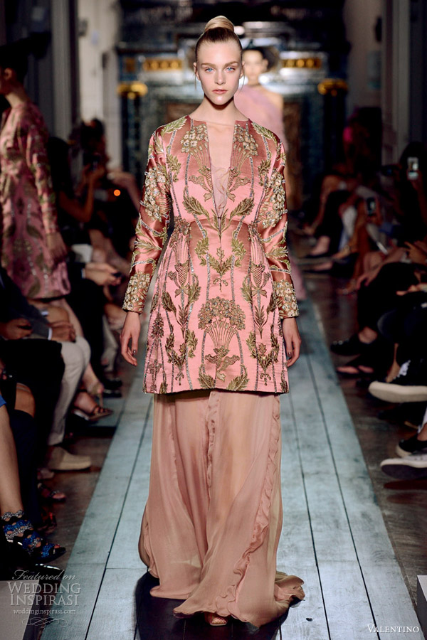 valentino fall 2012 couture brocade split neckline long sleeves salmon dress
