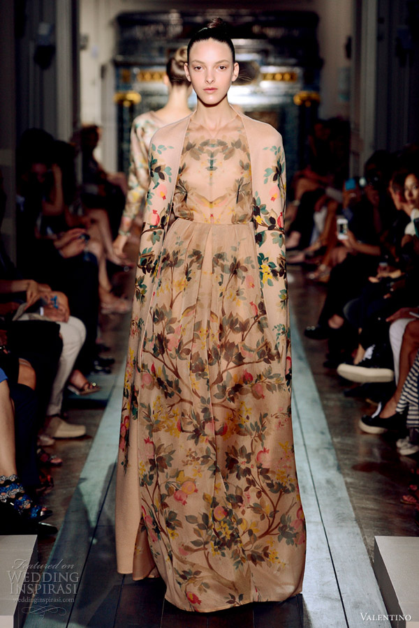 valentino fall 2012 couture nude floral print cape coat