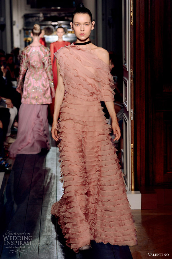 valentino fall 2012 couture one shoulder pink ruffle dress