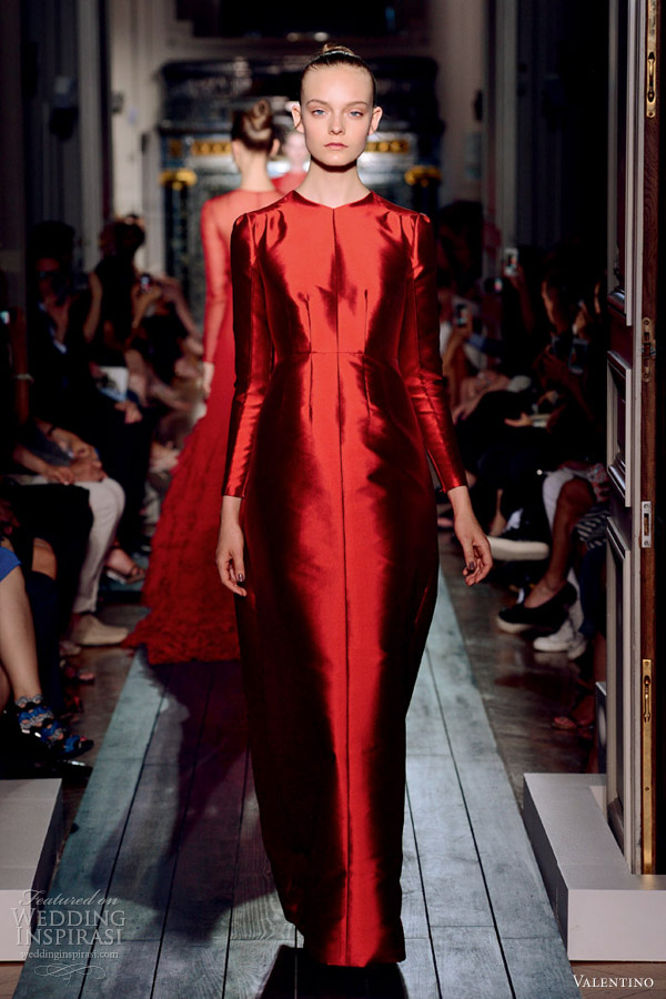 valentino fall 2012 couture red crimson silk gazar long sleeve dress