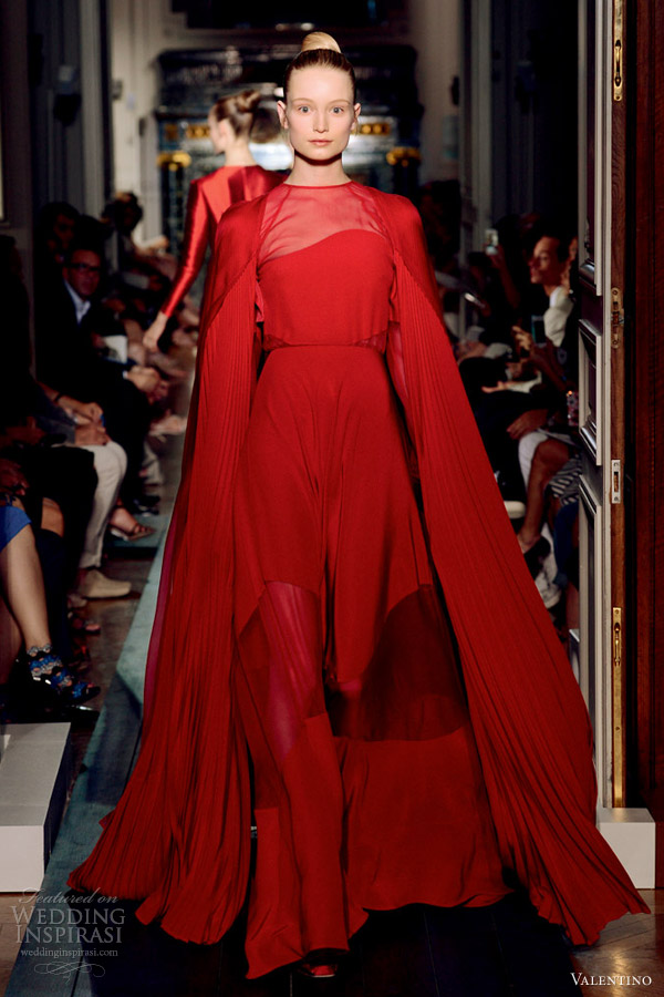 valentino fall 2012 couture red gown pleated cape