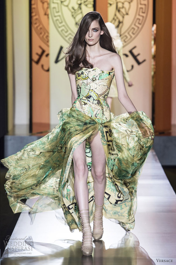 versace fall 2012 couture strapless print gown