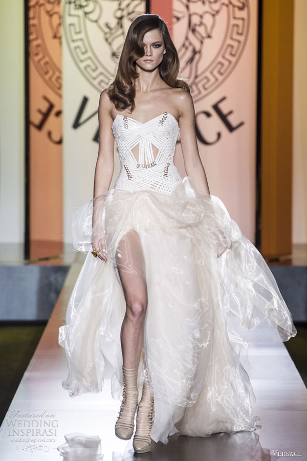 versace fall 2012 couture strapless white gown