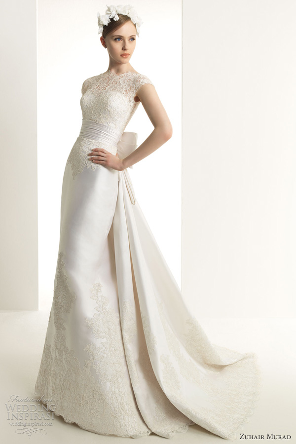 zuhair murad 2013 bridal karina lace wedding dress cap sleeves gown