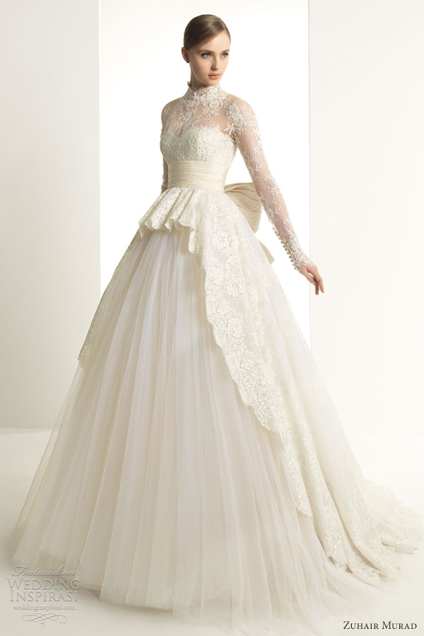 zuhair murad 2013 bridal katrina wedding dress long sleeves lace ball gown