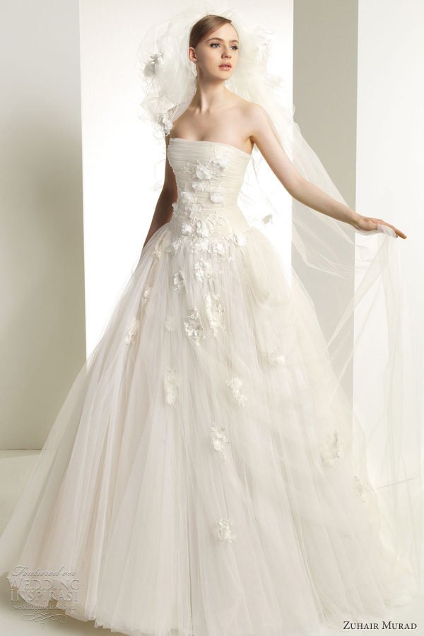 zuhair murad bridal 2013 kerry wedding dress strapless tulle ballgown