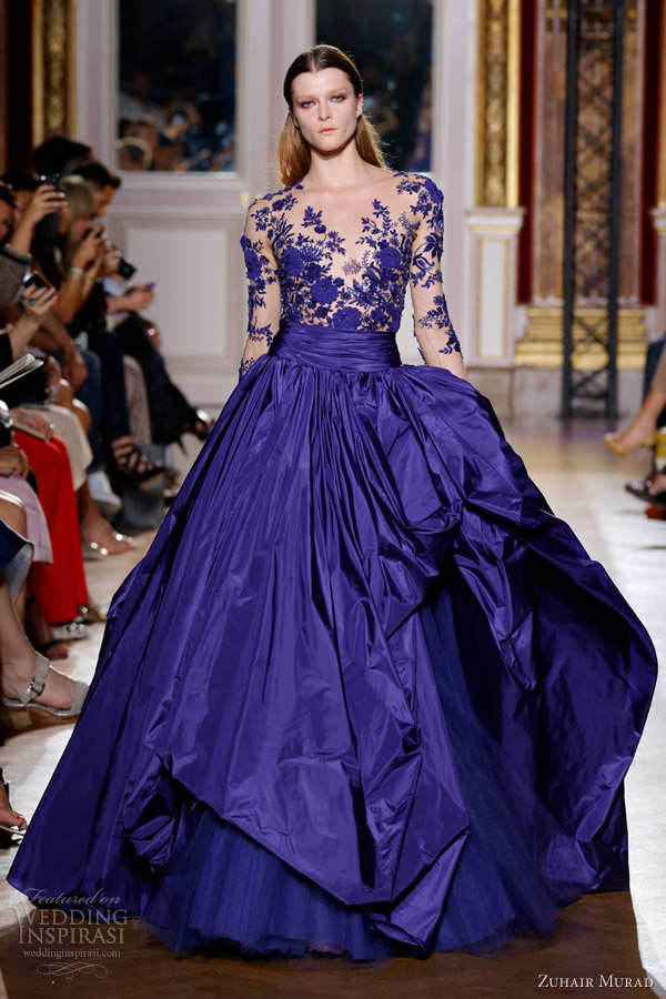 zuhair murad couture fall 2012 2013 long sleeve blue ball gown
