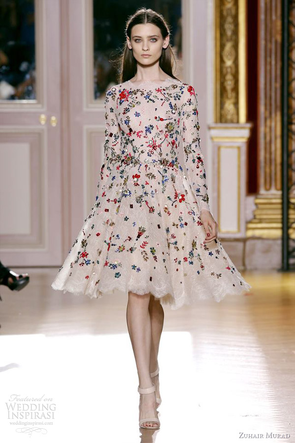 zuhair murad fall 2012 2013 couture skin flowers short multi color floral dress