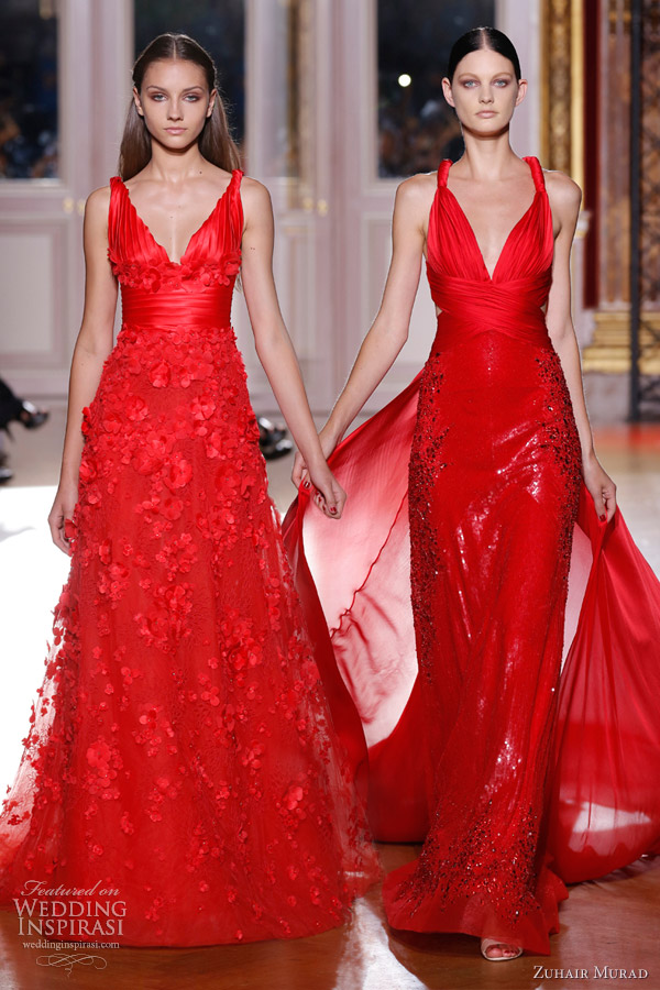 zuhair murad fall 2012 couture long sleeve red dresses straps
