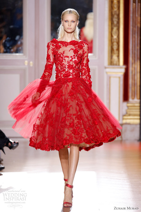 zuhair murad fall 2012 couture long sleeve short red lace dress