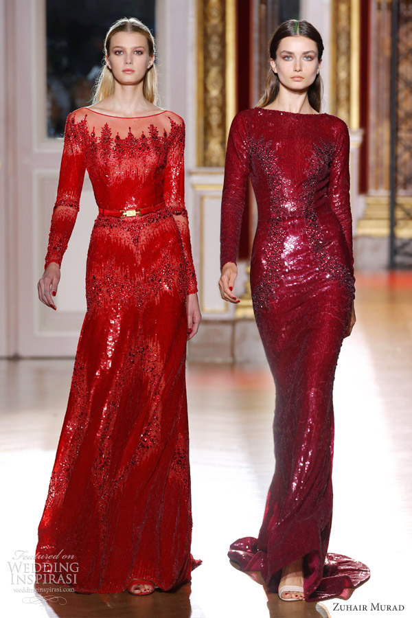 zuhair murad fall 2012 couture long sleeve wine red burgundy gowns