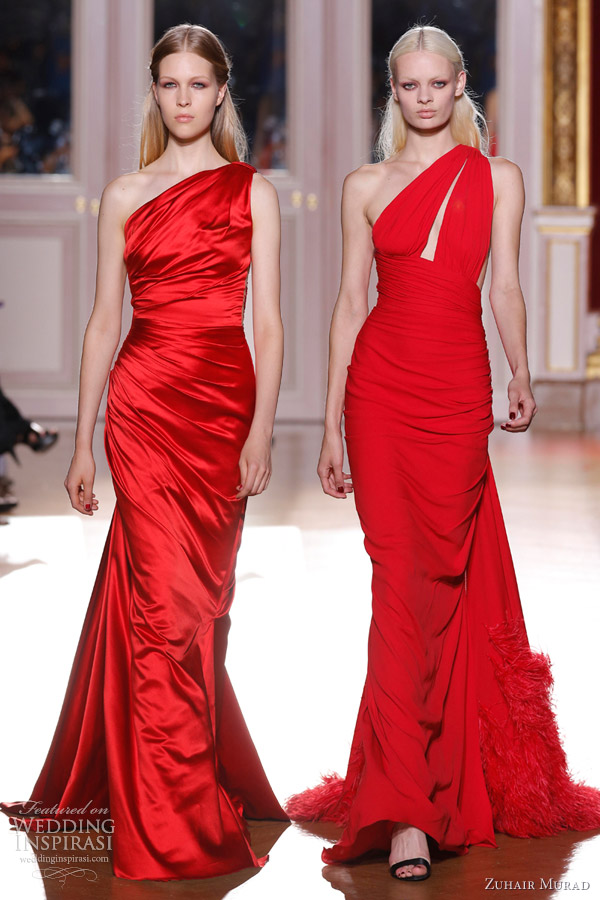 zuhair murad fall 2012 couture one shoulder red dresses