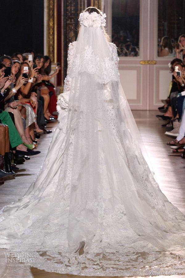 zuhair murad fall 2012 couture wedding dress lace long sleeves train