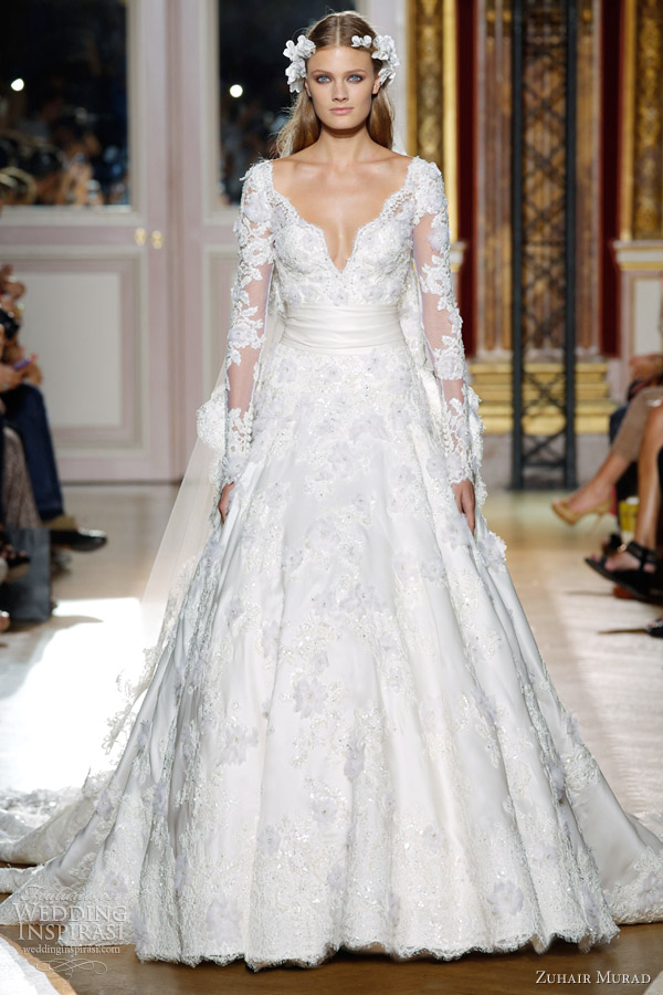 zuhair murad fall 2012 couture wedding dress lace long sleeves