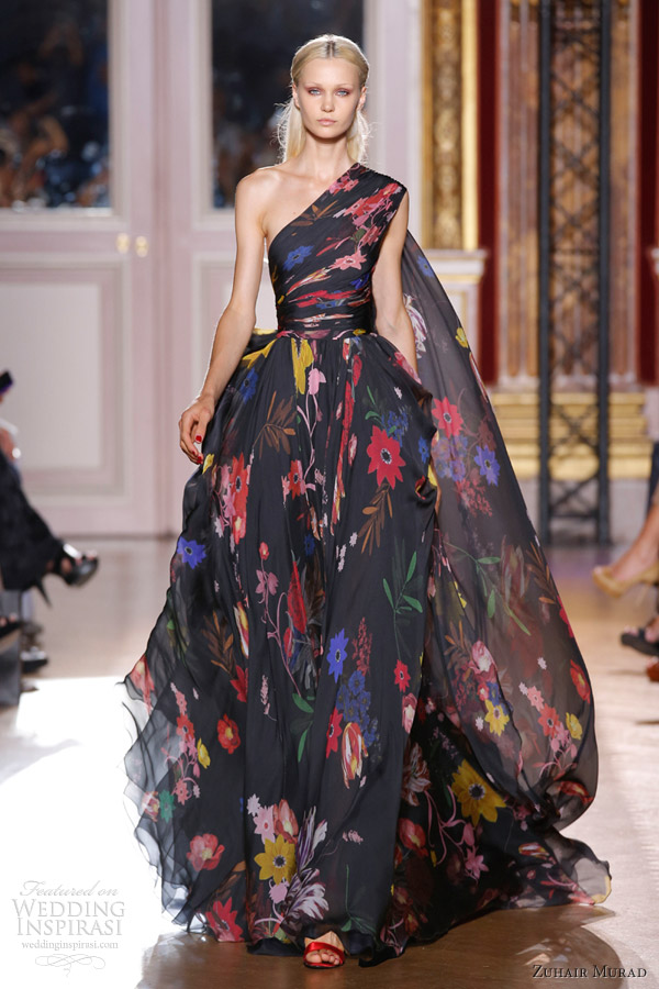 zuhair murad fall winter 2012 2013 couture black one shoulder floral print ball gown