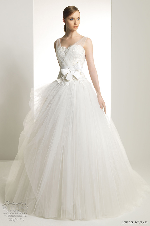 zuhair murad wedding dresses 2013 bridal karen sleeveless ball gown tulle illusion straps