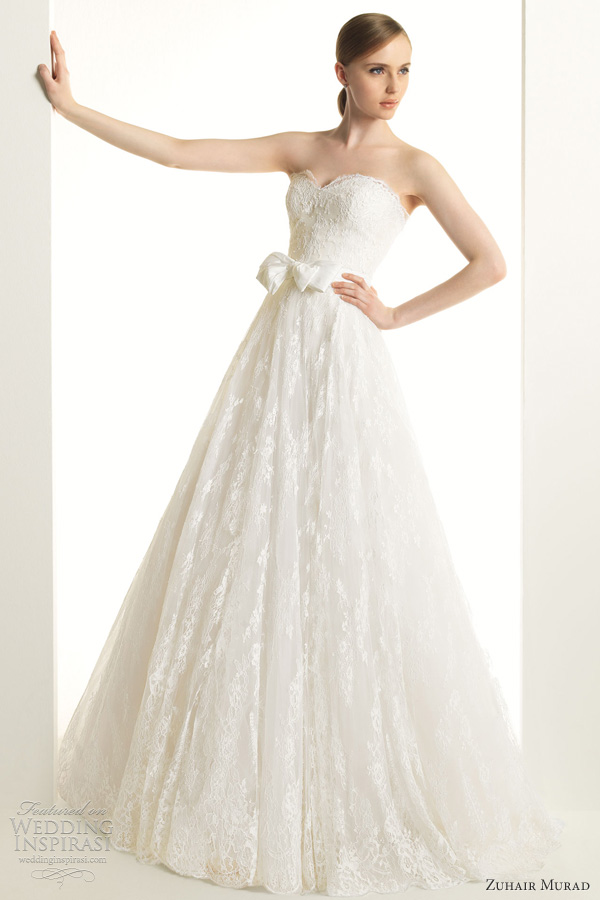 zuhair murad wedding dresses 2013 ketty strapless lace a line gown