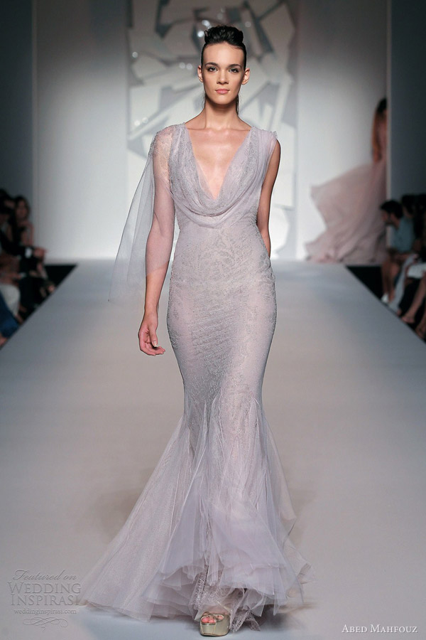 abed mahfouz couture fall 2012  mermaid gown cowl neck