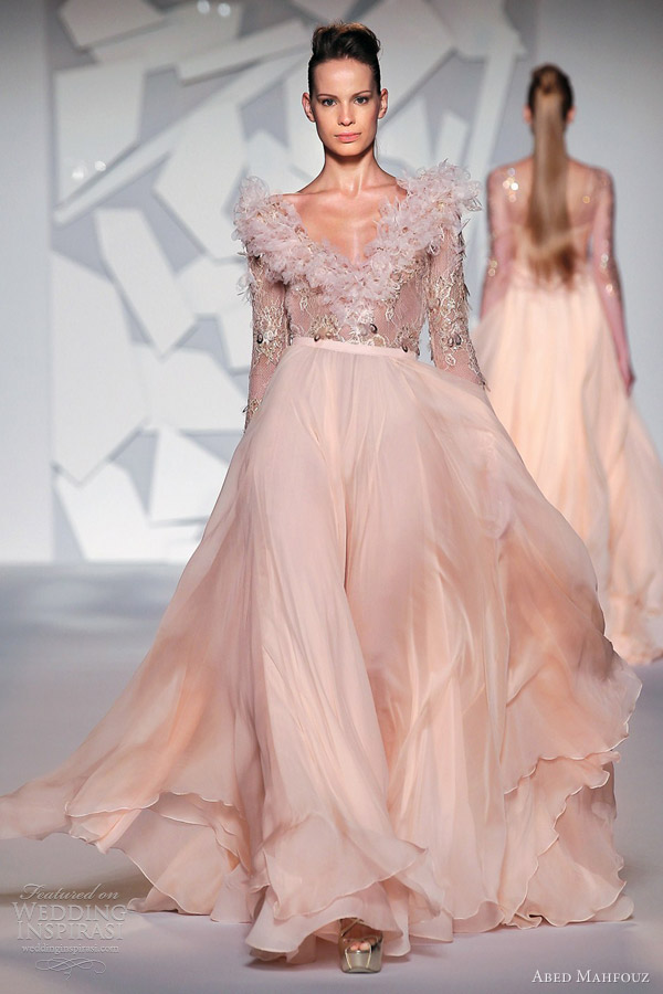 abed mahfouz couture fall 2012 peach pink long sleeve gown