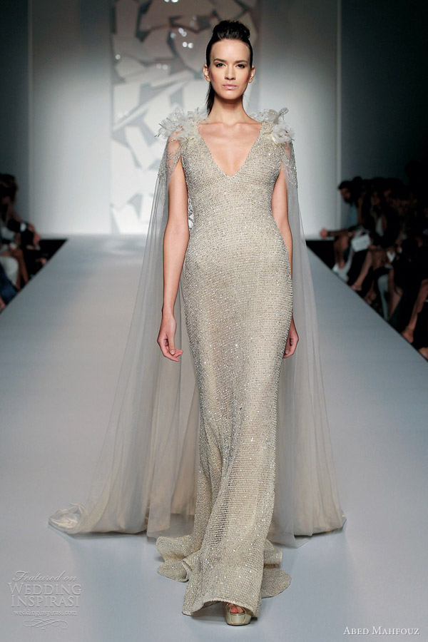 abed mahfouz fall 2012 2013 couture sheath gown v neck cape train