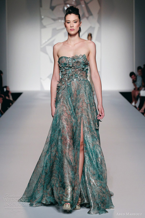 abed mahfouz fall 2012 2013 couture strapless green dress petals