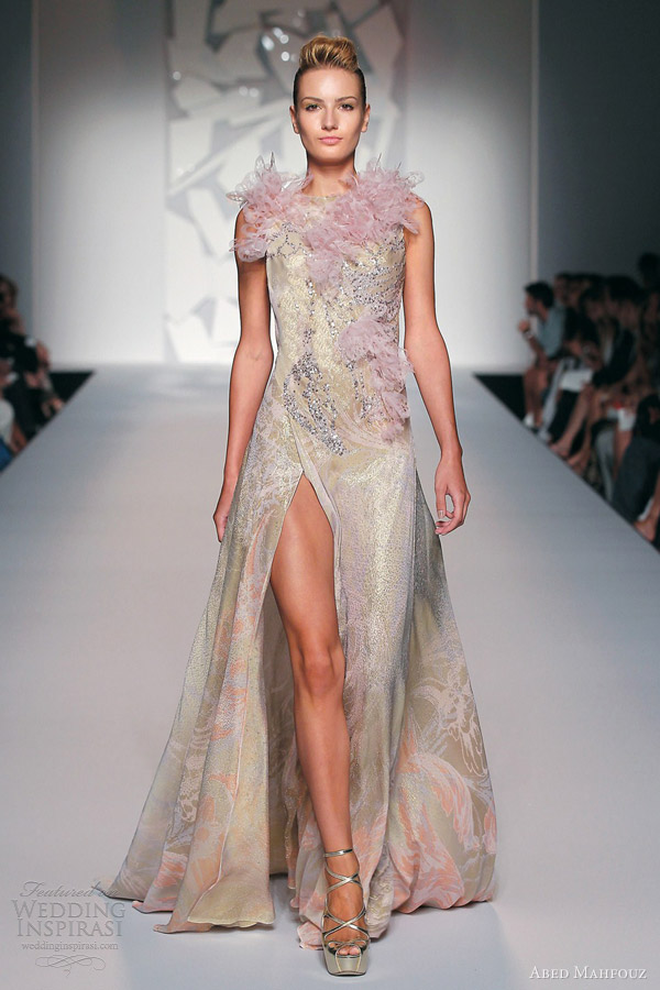 abed mahfouz fall 2012 couture sleeveless gown slit