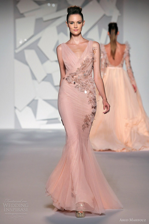 abed mahfouz fall 2012 couture sleeveless peach mermaid gown straps
