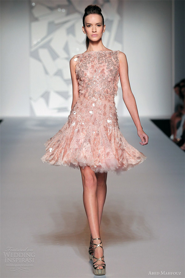 abed mahfouz fall 2012 couture sleeveless peach pink short dress