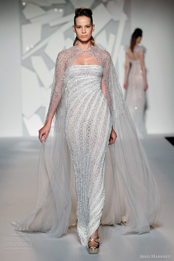 abed mahfouz fall 2012 couture strapless dress cape bead