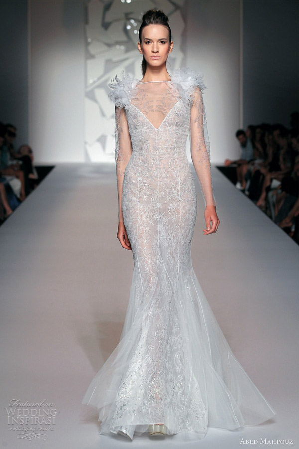 abed mahfouz fall 2012 couture wedding dress illusion long sleeves