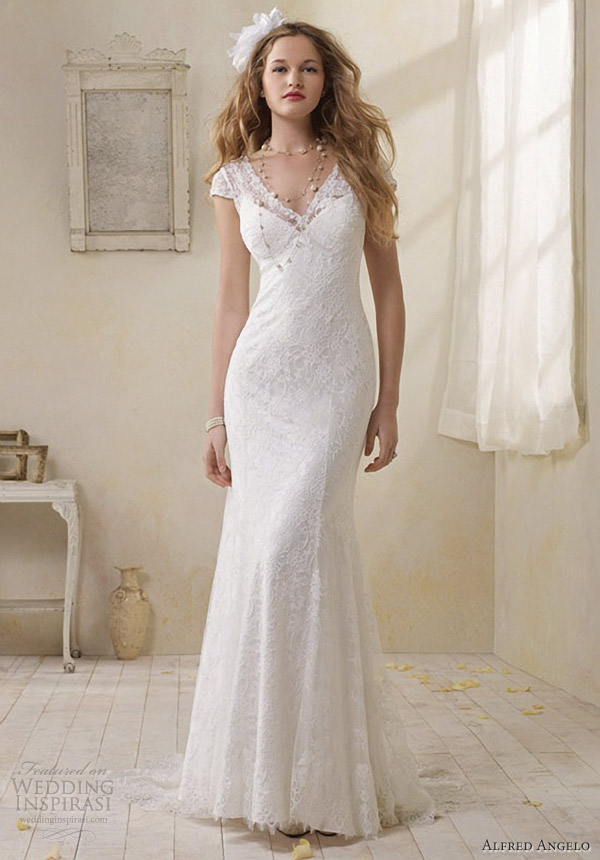 Alfred angelo modern vintage bridal collection wedding for Modern vintage lace wedding dress