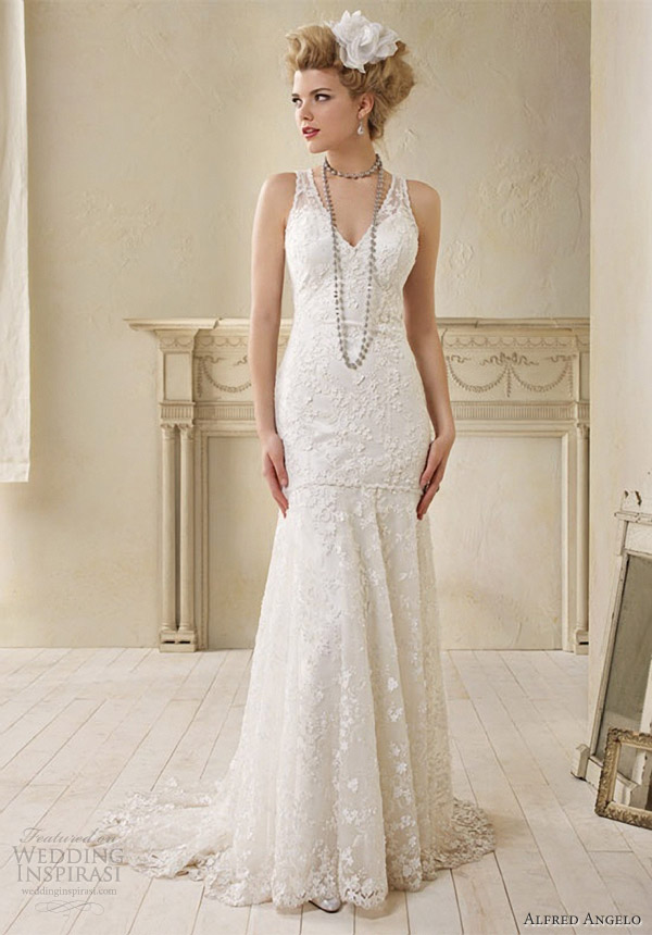 Alfred angelo modern vintage bridal sleeveless wedding for Vintage lace dress wedding