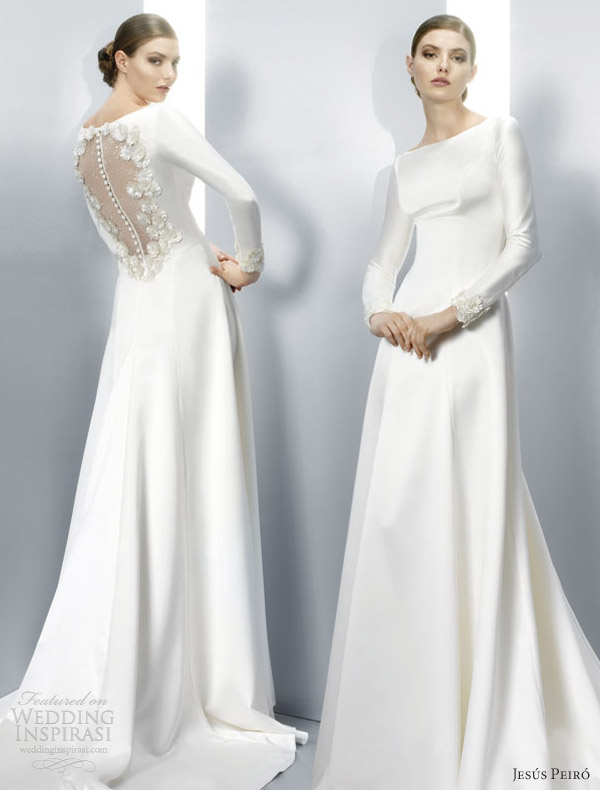 jesus peiro 2013 long sleeve gown twilight wedding dress illusion back