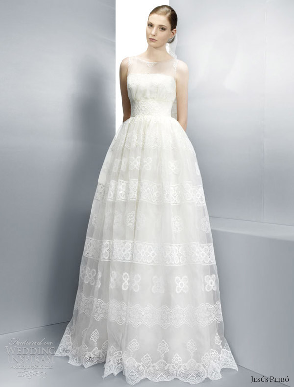 jesus peiro 2013 wedding dresses sleeveless illusion lace ball gown