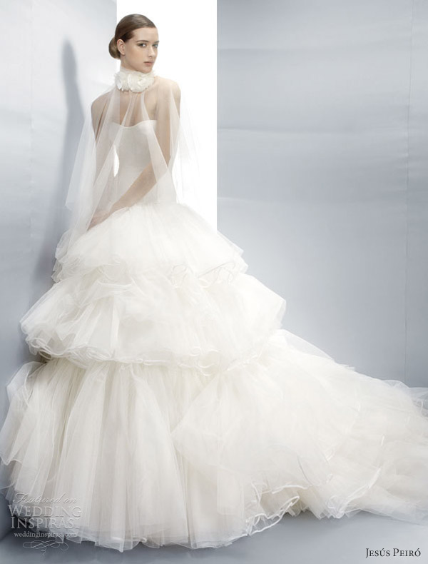 jesus peiro wedding dresses 2013 ball gown sheer illusion cape