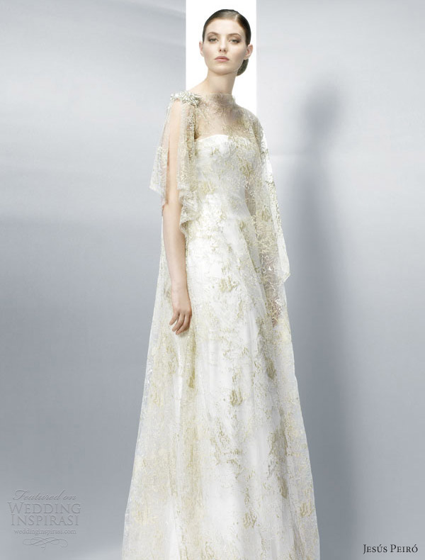 jesus peiro wedding dresses 2013 illusion flutter sleeve gold overlay
