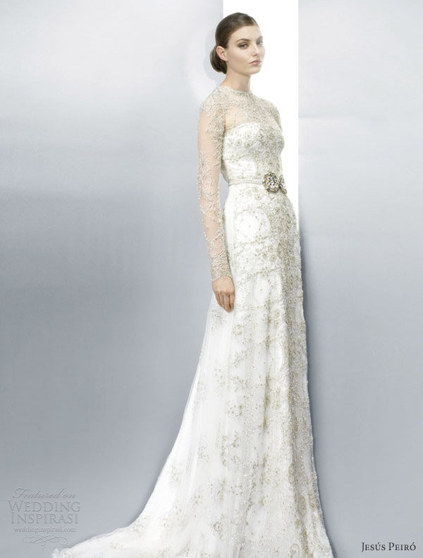 jesus peiro wedding dresses 2013 illusion long sleeve lace sheath gold thread