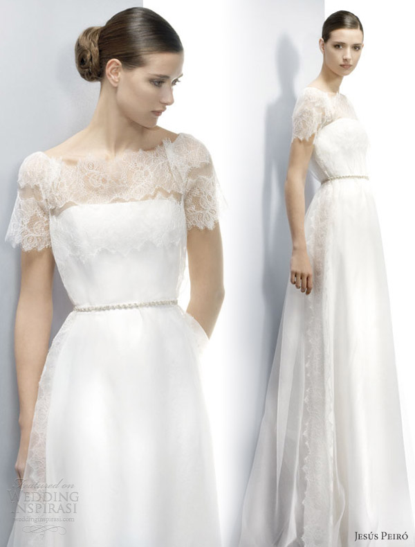 jesus peiro wedding dresses 2013 lace short sleeve gown