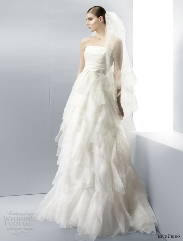 jesus peiro wedding dresses 2013 strapless gown tiered skirt