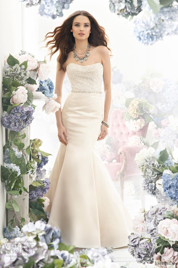 jim hjelm bridal fall 2012 silk satin trumpet gown style 8250 pearl crystal embroidered natural waist pleats chapel train