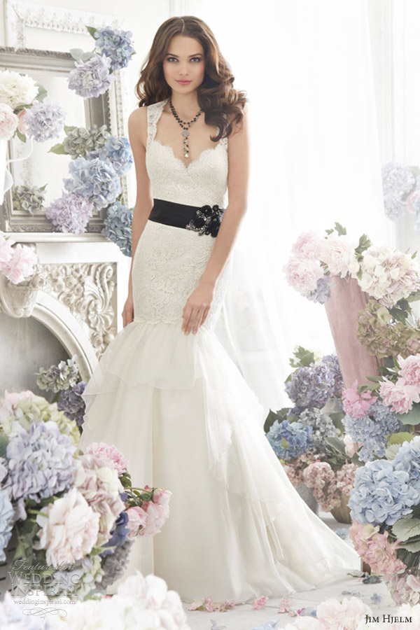 jim hjelm fall 2012 bridal silk organza a line wedding dress 8262 sleeveless lace elongated open moire ribbon floral