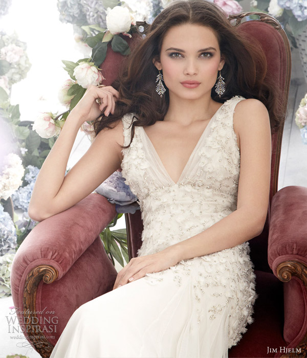 jim hjelm wedding dress fall 2012 english net charmeuse a line bridal gown  8265 sleeveless crystal embroidered beaded bodice v neck