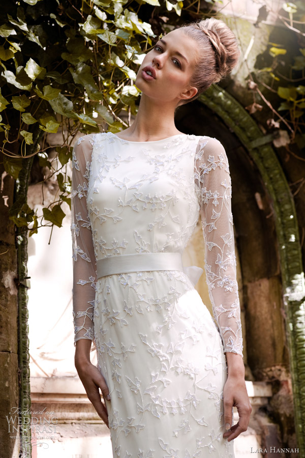 lara hannah spring 2013 gardener column wedding dress sleeves