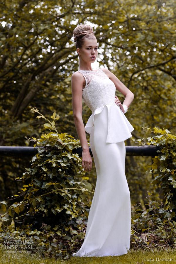 lara hannah spring 2013 vanilla wedding dress peplum