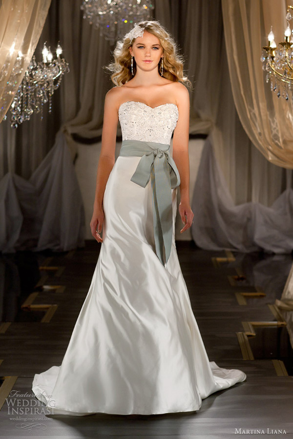 martina liana fall 2012 2013 strapless wedding dress sash 430