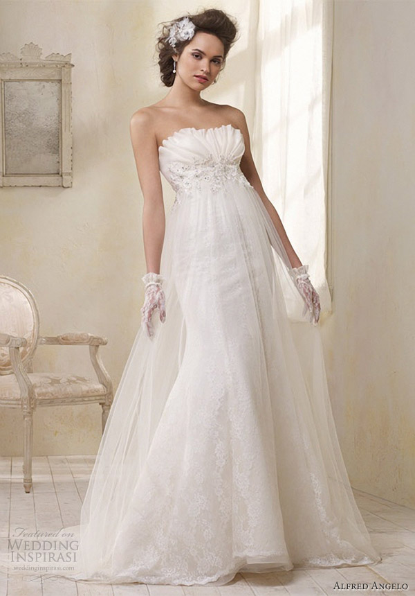 modern vintage bridal alfred angelo strapless wedding dress empire waist 8504