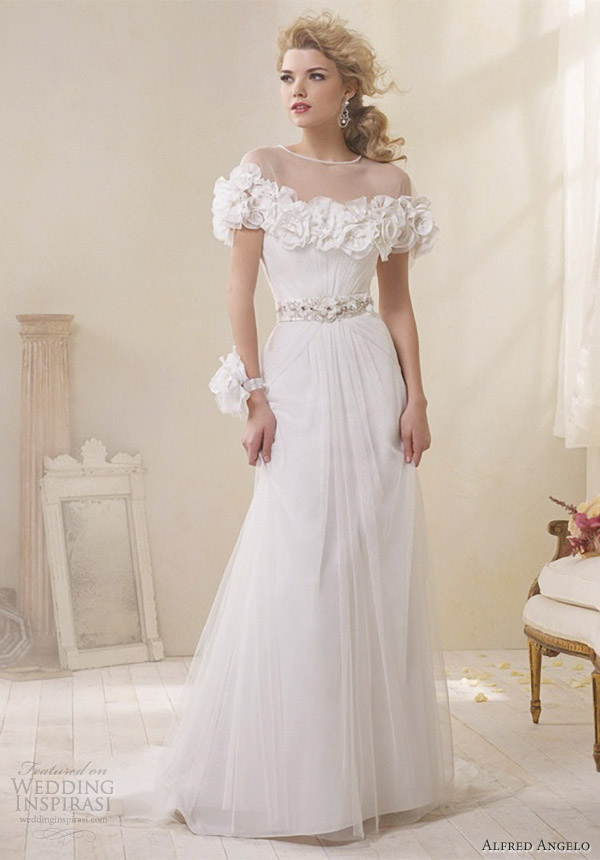 modern vintage bridal alfred angelo wedding dress floral soft net cape 8503J
